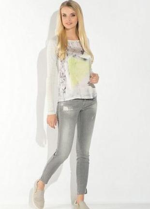 Обнова! джинсы скинни серые укороченные с замками дистресс-эффект потертость