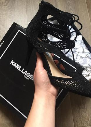 Босоножки ботильоны бренд замш чёрные karl lagerfeld paris