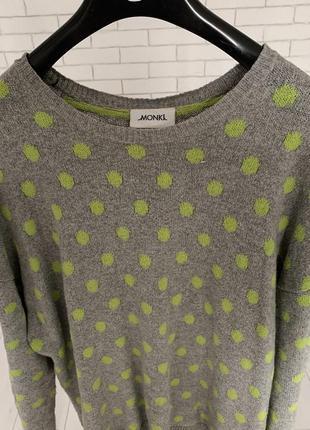 Серая кофта в горошек свободного кроя от monkey / сірий светр