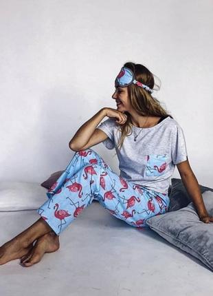 Пижама 100% хлопок фламинго штаны футболка