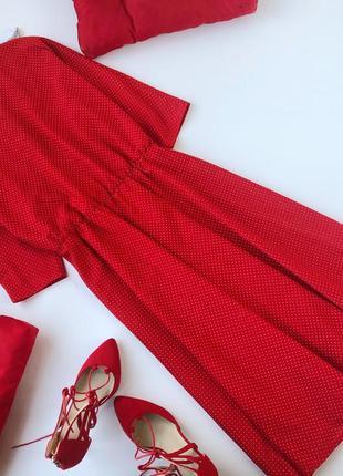 Шикарное платье миди в горох винтаж англия plus