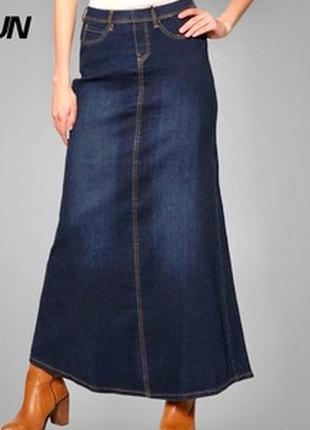 Длинная джинсовая юбка benetton размер с м  синего цвета