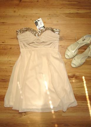 Коктейльное платье шифоновое, плаття сукня вечернее с паетками нарядное