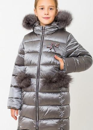 Стильное куртка пальто сабрина с натуральной опушкой размеры 116- 164 хит зимы 2018-2019!