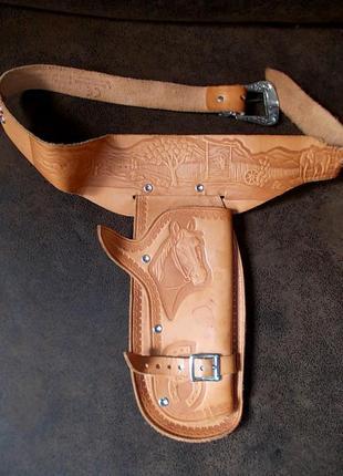 Кожаный ремень с кобурой для костюма ковбоя - детский-германия