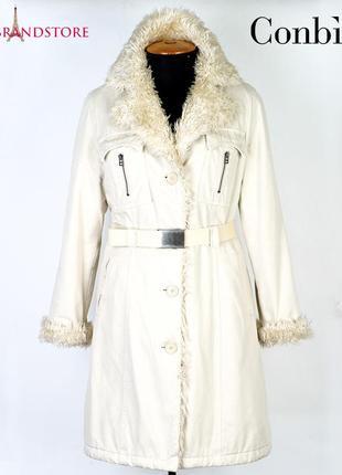 Conbipel пальто длинное женское итальянское зимнее теплое на меху зима осень демисезон