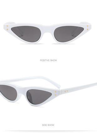 Белые узкие пластиковые очки sci-fi (скай фай, кошачий глаз, тонкие футуристичные очки)