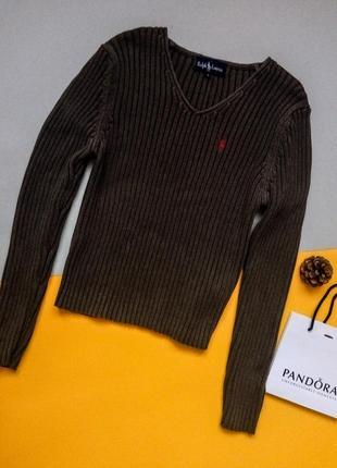 Хлопковый пуловер,джемпер,свитер в рубчик
