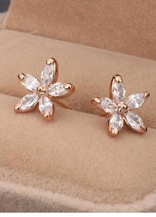 Серьги-гвоздики цветок кубический цирконий цвет розового золота