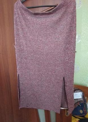 Просто классная теплая, трикотажная меланжевая  юбка