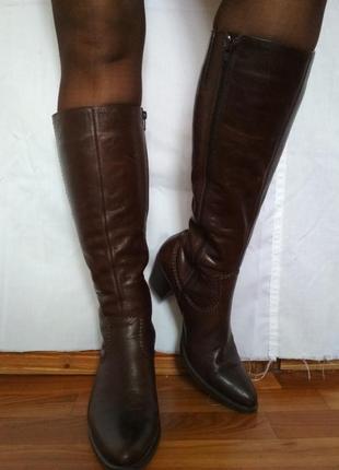 Стильные кожаные сапоги,удобные, качество,