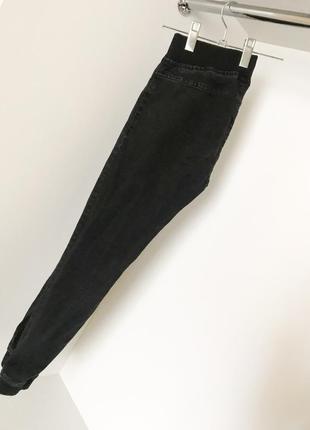 Джинсы джеггинсы скини темно-серые чёрные с резинками манжетами janina завышенной талией
