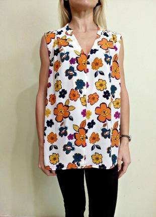 Молочная блуза в цветочный принт