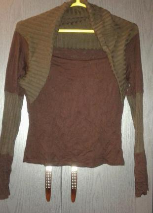 Оригинальная кофточка шоколадного цвета,франция, размер м.