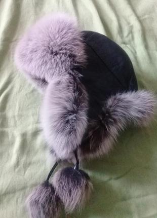 Зимняя шапка песец + кожа