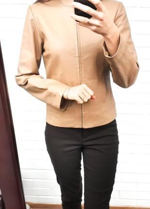 Классическая коричневая кожаная куртка кожанка100% кожа кожаная косуха