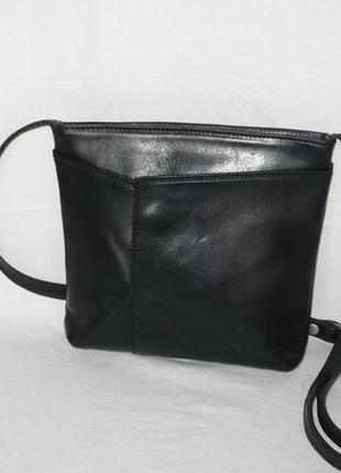 Качественная кожаная сумка вместительная маленькая сумочка длинная ручка кросс боди