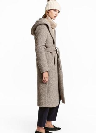 Пальто с капюшоном из смесовой шерсти h&m