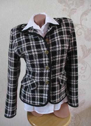 Жакет/пиджак в стиле chanel/твид/60% шерсть/клетка
