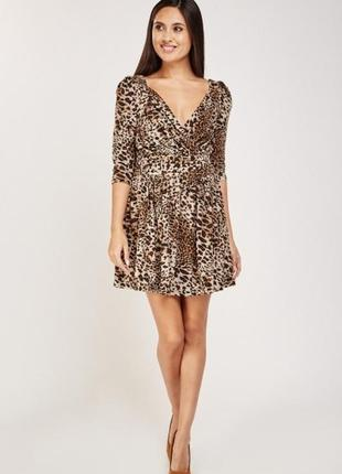 Мини платье с леопардовым принтом s m
