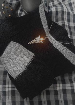 Свитер светр джемпер миди вязаный в узоры косы шерсть, акрил