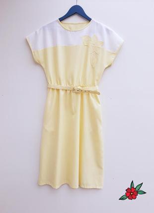 Нежное платье миди желтое платье с пояском
