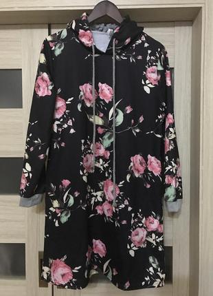Классное платье худи с капюшоном