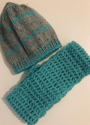 Вязаные шапка и шарфик 0-6 месяцев