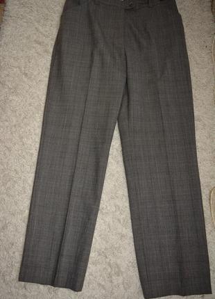 Теплые классические стройнящие брюки, клетка, шерсть, по фигуре