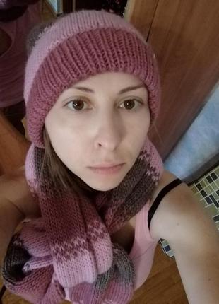 Шерстяной комби комплект шапка шарф, ручная работа