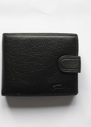 Черный кожаный кошелек бумажник портмоне, 100% натур. кожа, есть доставка бесплатно