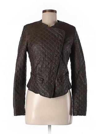 Куртка косуха стьобана із вишивкою еко шкіра 38/m zara