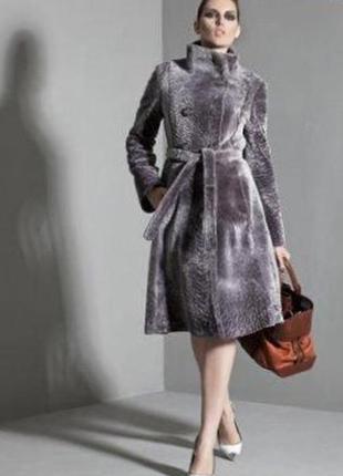 Красивая роскошная длинная очень теплая шуба мутон donna bacconi серого цвет размер с м л