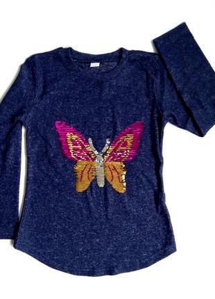 Туника для девочки бабочка пайетки перевертыш.
