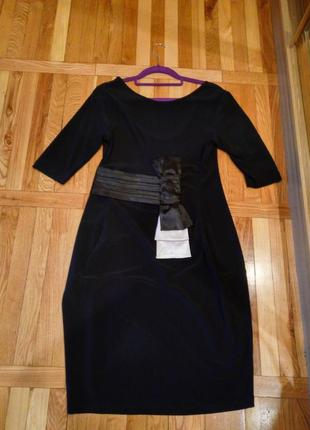 Трендовое платье с бантом рукав три четверти миди