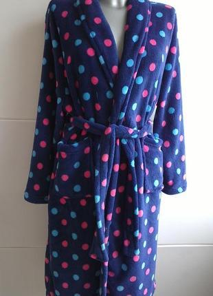 Чудесный теплый махровый халат с принтом цветной горох