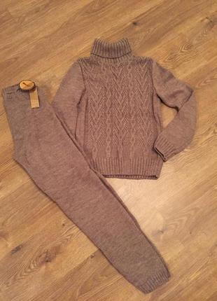 Тёплый вязаный костюм гольф кофта тёплые штаны лосины