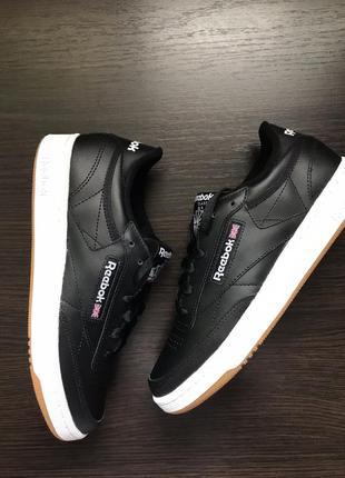Черные кожаные кроссовки reebok club c 85 unisex