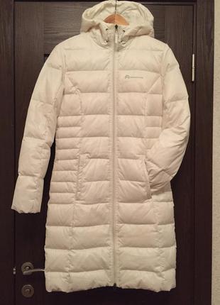 Классный белый пуховик длинный пальто шуба куртка