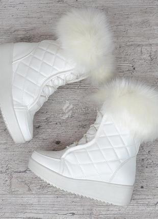 Сапоги женские зимние белые на платформе завышенные со шнуровкой lady winter