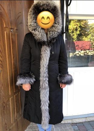 Зимнее пальто шуба чернобурка кролик