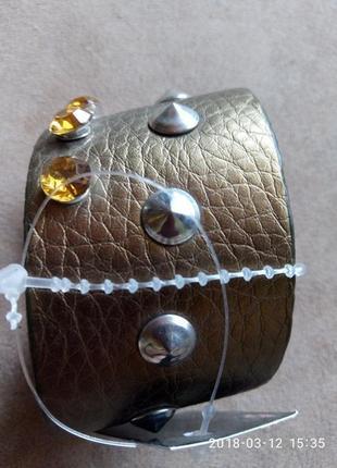 Цена снижена!бронзовый кожаный браслет с шипами и камнями3