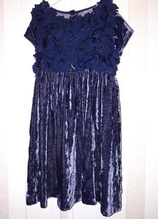 Нарядное бархатное велюровое новогоднее вечернее платье next