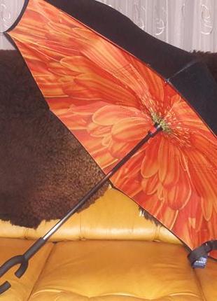 Зонт обратного сложения антиветер двойное покрытие