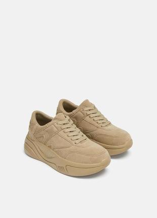Натуральная кожа. замшевые кроссовки на платформе zara (36,37,38,39,40)