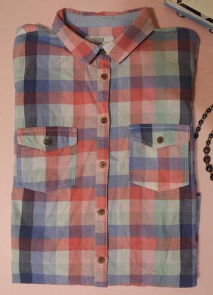 Рубашка в клетку на пуговках / клетчатая рубашка размер м