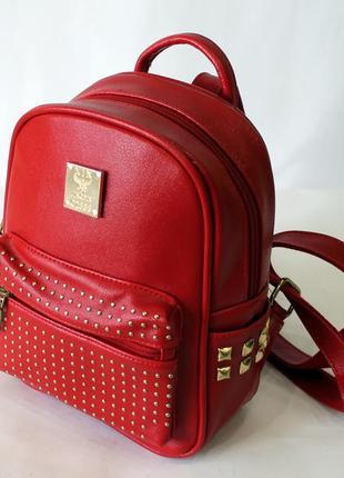 Рюкзак, ранец, маленький рюкзак, женский рюкзак, эко кожа, красный рюкзак