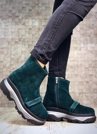 Замшевые зимние ботинки флэтформы на толстой подошве. 36-40