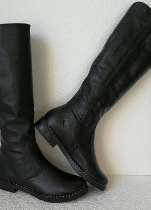 Женские зимние сапоги limoda по колено со змейкой еврозима черная кожа