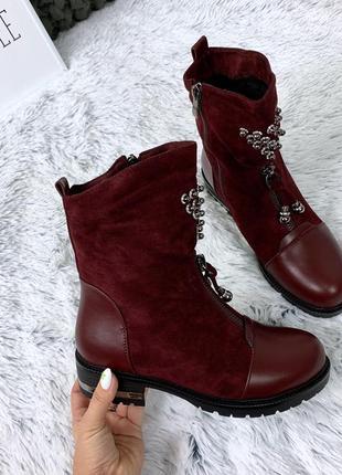 Стильные бордовые ботиночки на низком каблуке. размеры с 36 по 41